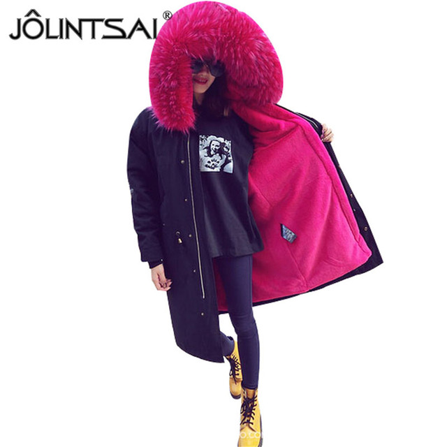 Cheap Detachable 2 Pieces Sets 2016 New Women Winter Magical 16 Colors Jacket Thick Coats Plus Size Large Fur Collar Hooded Outwear