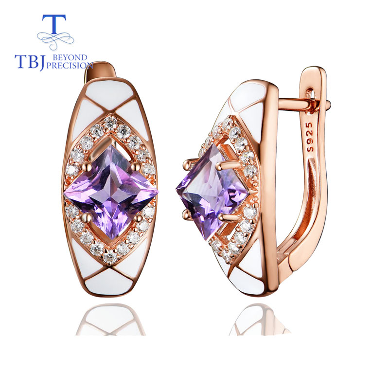 TBJ Natural amethyst clasp earring 925 sterling silver fine jewelry for women wife simple luxury design