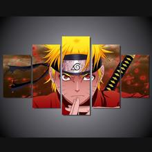 5 Panels Wall Art Anime Naruto Uzumaki Ninja Sword 5 Pieces Paintings Canvas Poster Unframed 9004