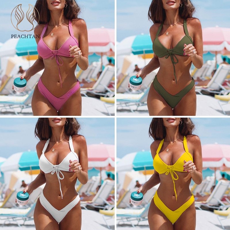 Peachtan Halter sexy bikini micro Ribbed pink swimwear women 2019 bathing suit Push up swimsuit female biquini summer beach wear