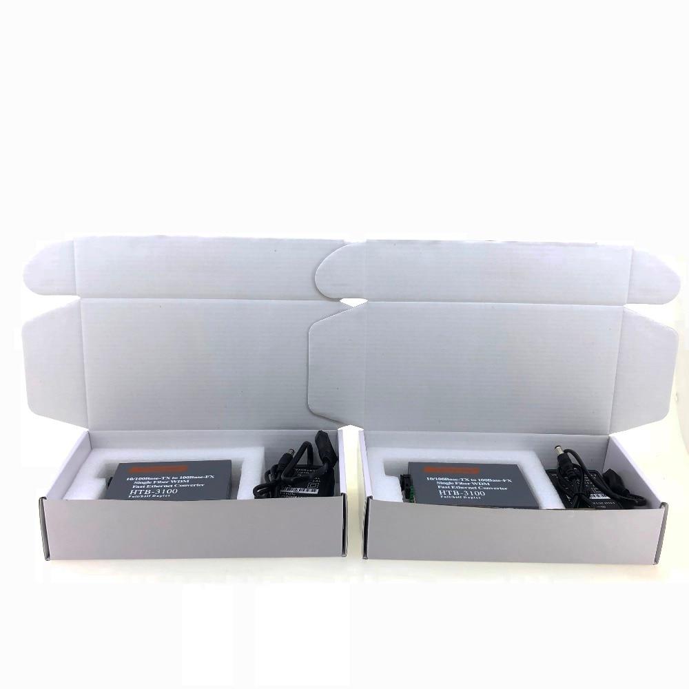 1 пара HTB-3100 волоконно-оптический медиаконвертер волоконно-оптический приемопередатчик одиночный волоконный преобразователь 25 км SC 10/100 м Одномодовый одиночный волоконный