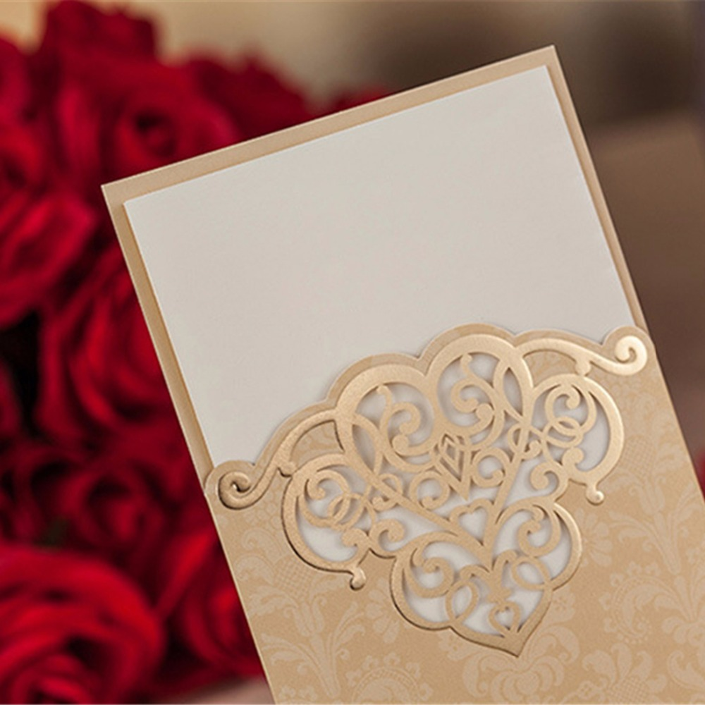 H&D (10 pieces/lot) New Wedding Invitations Card Laser Cutting Sweet ...