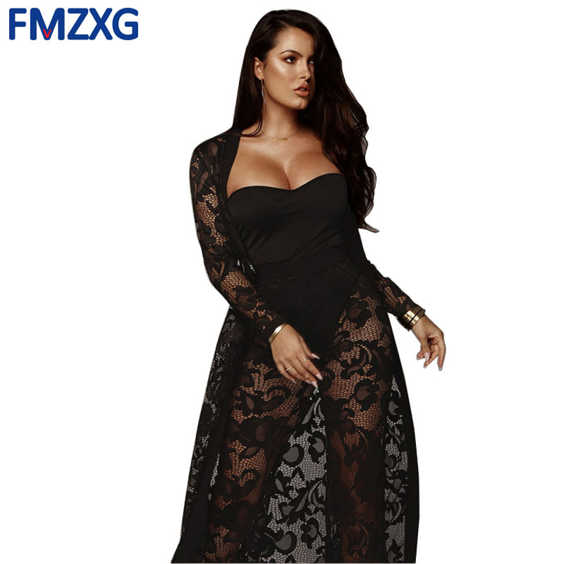 4e5532f8 Women Autum Two Piece Set Female Long Sleeve Smock Cloak Cape Coat +Long  Pants Ladies Sexy Lace Outfit Femme Three Piece Suit