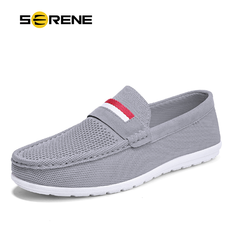 SERENE Brand Fashion Shoes Men Casual Loafers Sneakers Summer Breathable 2018 Top Air Mesh Canvas Hot Sale Boat Drive Mens Shoe mvp boy brand 2018 new summer mesh air mesh men breathable loafers black shoes spring lightweight fashion men casual shoes