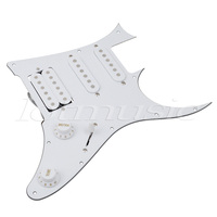 Guitar Prewired Loaded Pickguard HSS Scratch Plate For Ibanez 7V Replacement Guitar Parts 3Ply White