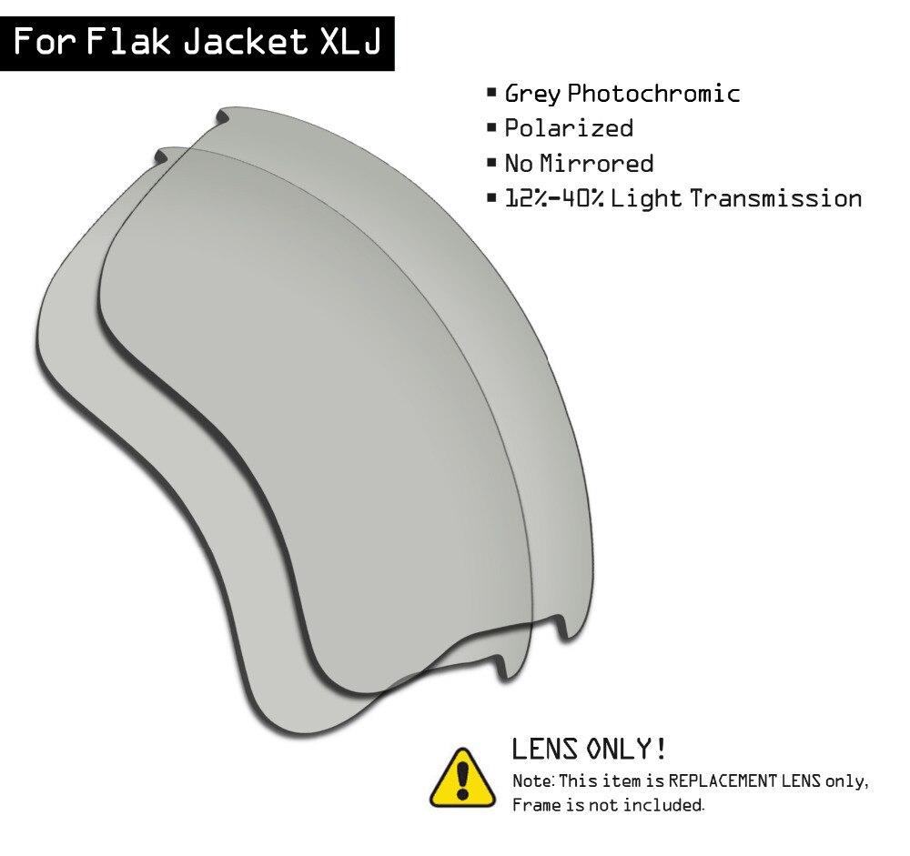 SmartVLT Polarized Sunglasses Replacement Lenses For Oakley Flak Jacket XLJ - Grey Photochromic