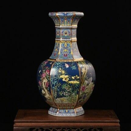 Цзиндэчжэнь ваза керамическая Античное золото эмаль цвет пасты шесть цветы и цветы процесс сбора украшения