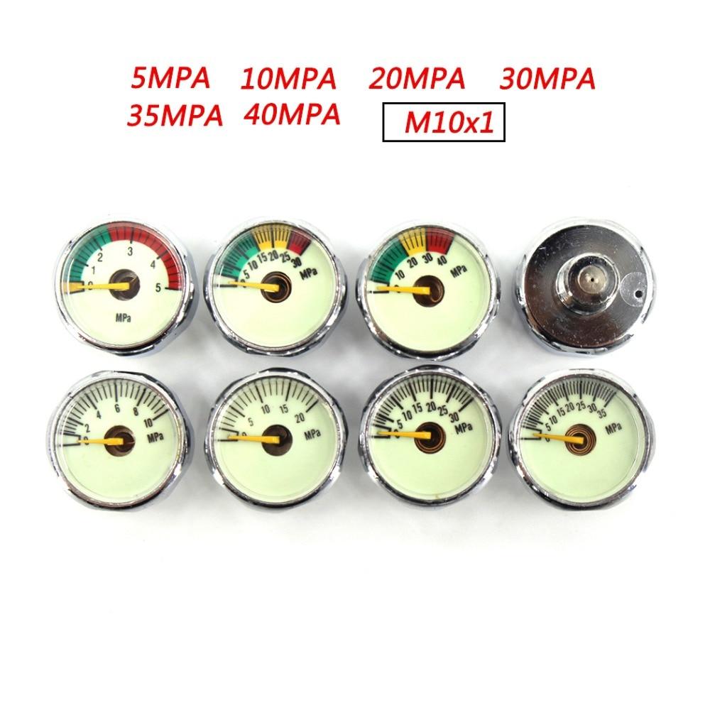 PCP Paintball Airforce Scuba Din Valve Regulator Pump Luminous M10x1 Thread Mini Air Pressure Gauge Manometre 10/20/30MPA 1 Inch