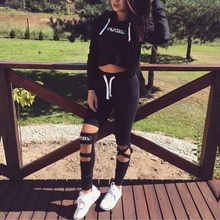 Crop Top Hoodie + Pants Two Piece Set Cut Out Bottoms Hooded