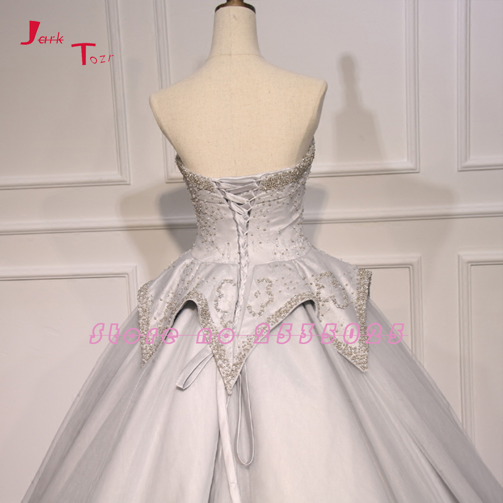 Jark Tozr Custom Made Lace Bruidsjurken Pérolas Tule Princesa vestido de Baile Vestidos de Casamento China Vestido De Noiva Loja Online - 5