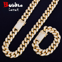 Heavy Cubic Zirconia Miami Cuban Chain with Bracelet Necklace Set Gold Silver 20mm Big Choker Men's Hip hop Jewelry 16 18