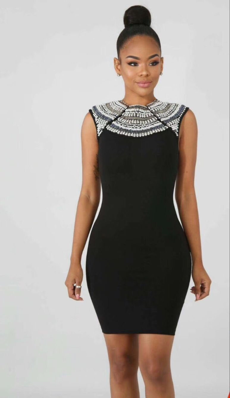 Sexy Designer O Tricoté Cou Qualité Parti Robe Noir Bandage Top Élégant Perles 2018 O0nwPk