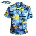 Мужчины Рубашка Алоха Тропический Луо Пляж Гавайская Вечеринка Закат Круиз Palm Tree Синий И Красный РАЗМЕР США Повседневная Гавайцы Рубашки V25