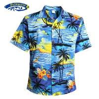 Hombres de la Camisa Hawaiana Tropical Beach Hawaiian Luau Party Crucero Al Atardecer Palmera Hawaianos Azul Y Rojo EE.UU. TAMAÑO Ocasional Camisas V25