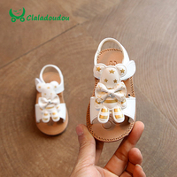 Claladoudou Girls Toddler Sandals White Cute PU Leather Flip Flops Girls Pink Bear Soft Baby Slipper
