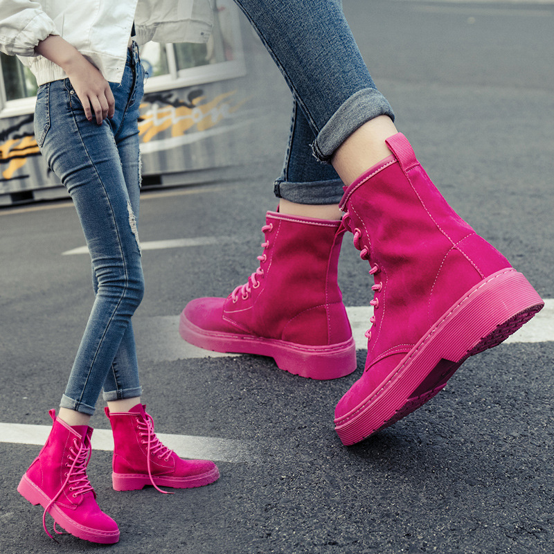 Fashion Pink Ankle Boots For Women Wedge Martin Boots Increasing Platform Female Shoes 2 ...