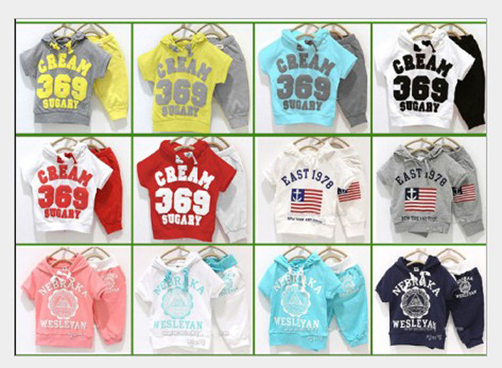 Retail 2016 summer clothing 369 SUGARY baby children clothing suit boys girls short sleeve hoody+pants clothes set in stock