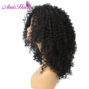 Image 2 - אמיר בינוני ארוך האפרו קינקי קרלי סינטטי פאה עבור נשים עם תינוק שיער פאות קוספליי perruque
