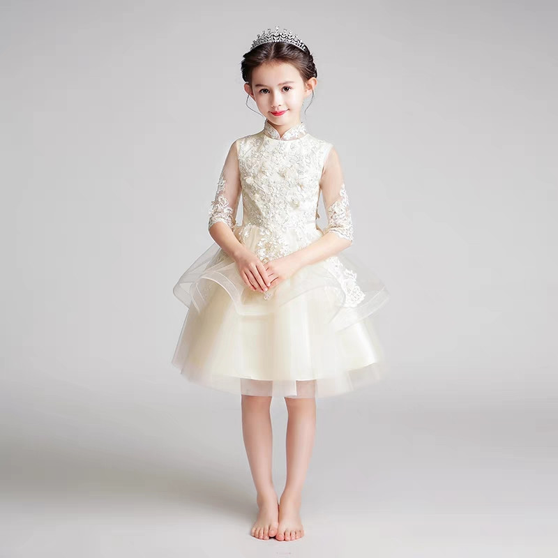 2018 New Baby Kids Champagne Color Half-Sleeves Embroidery Lace Flowers Birthday Party Evening Dress Children Piano Host Dress2018 New Baby Kids Champagne Color Half-Sleeves Embroidery Lace Flowers Birthday Party Evening Dress Children Piano Host Dress