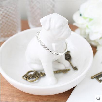 Animal Storage Tray Ceramic Dog Squirrel Fox Figurines Home Decor Ceramic Ornament Crafts Room