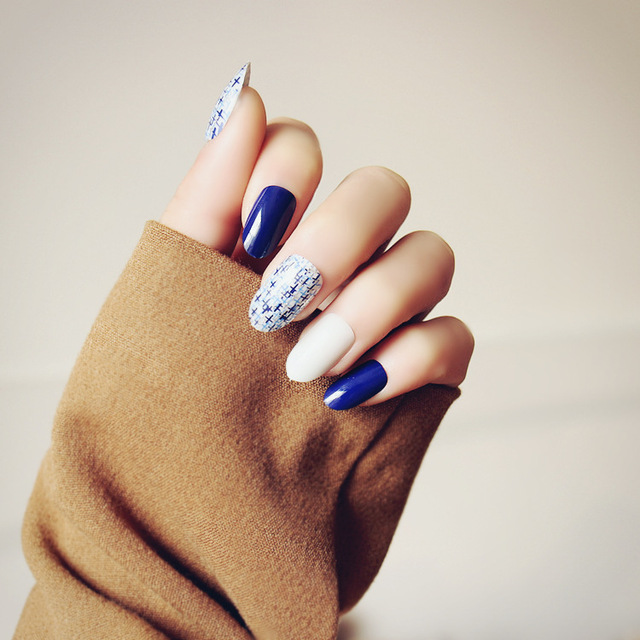 24pcs Cute Blue White Long Nail Tips with Marble Pattern Oval Fake ...