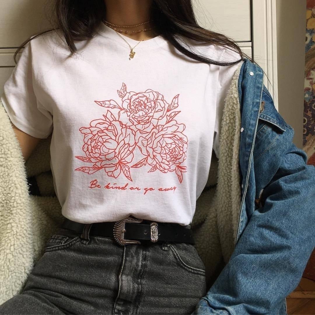 PUDO-XSX Frauen Sommer T Shirt Neue Mode mit Rote Rose und Briefe Drucken Werden Art Oder Gehen Weg Rose T hemd