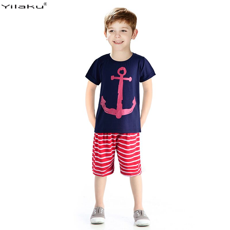 Yilaku Boys Clothing Set Children Sport Suits Children's Clothing Sets For Kids Cotton Clothes Set Boy T-Shirt+ Short Pant CF101