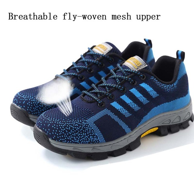 New exhibition Men Steel Toe Safety Work Shoes Breathable men shoe sneakers Anti-piercing anti-slip wearable Protection Footwear 2