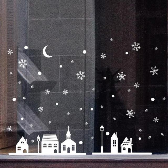 116 27 De Descuentonavidad Tienda Ventana Decoración Nieve Pared Pegatinas Navidad Copos De Nieve Ciudad 2au22 En Pegatinas De Pared De Hogar Y