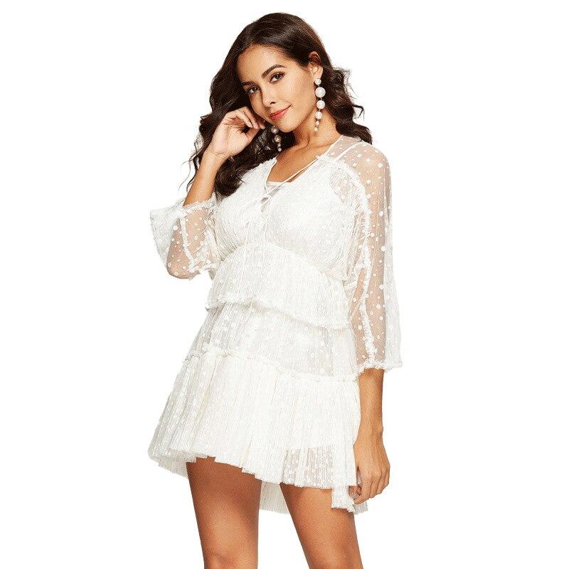 b3cea0e4cc4 Manches Creux 2019 Partie Robe Mesh Out Printemps De Robes Sexy Femelle  Vêtements Dot Coréen Mode Cou V Sipaiya Mini Femmes fwnA8zxq8