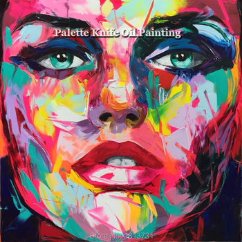Hand painted Francoise Nielly Palette knife portrait Face Oil painting Character figure canva wall Art picture16-32