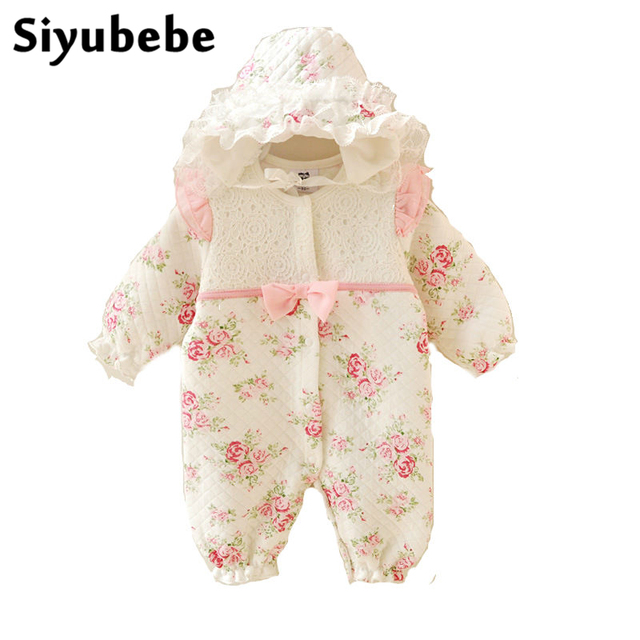 b9afe1f2786c Winter Newborn Baby Girl Clothes Thicken Cotton Coveralls Princess Lace  Flowers Infant Dress Jumpsuit Bebe Rompers