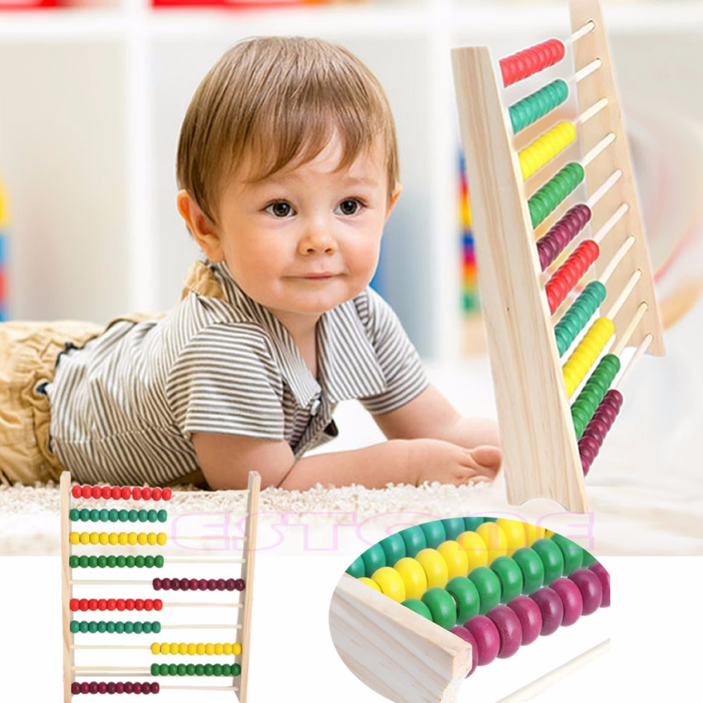 1Pc Wooden Abacus 10 row Colorful Beads Counting Kid Maths Learning ...