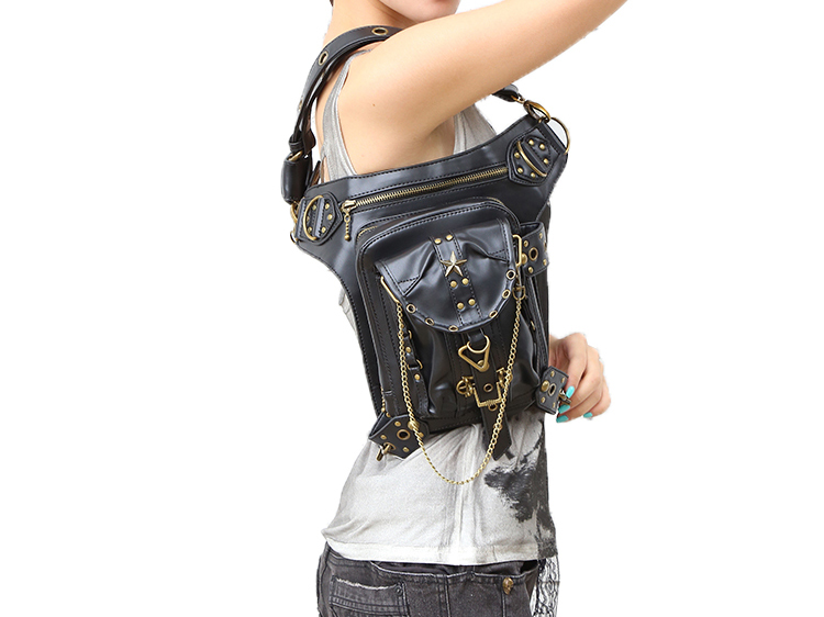 Steampunk Gothic Retro Metal Star Leather Waist Bag