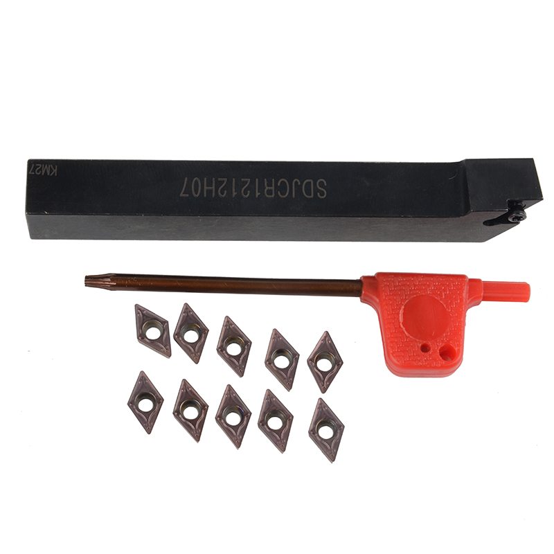 1pc SDJCR1212H07 Boring Bar Lathe Turning Tools Holder + 10pcs DCMT0702 Carbide Insert with Wrench 10pcs dcmt070204 carbide insert 1pcs sdjcr1212h07 12mm boring bar tool holder 1pcs wrench for lathe turning tool cnc holder