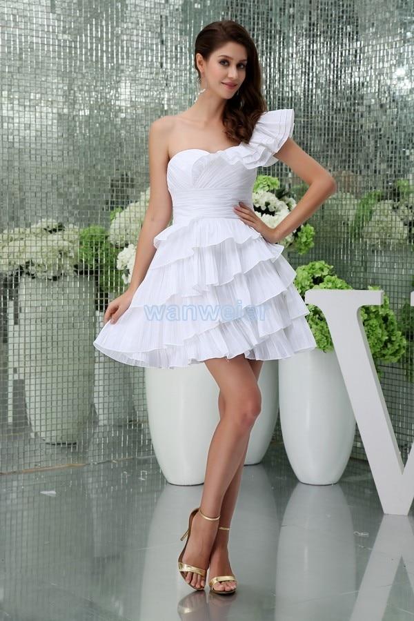 free shipping 2016 new short mini jennifer lopez   dress   custommade one shoulder plus size women's formal white   Bridesmaid     Dresses