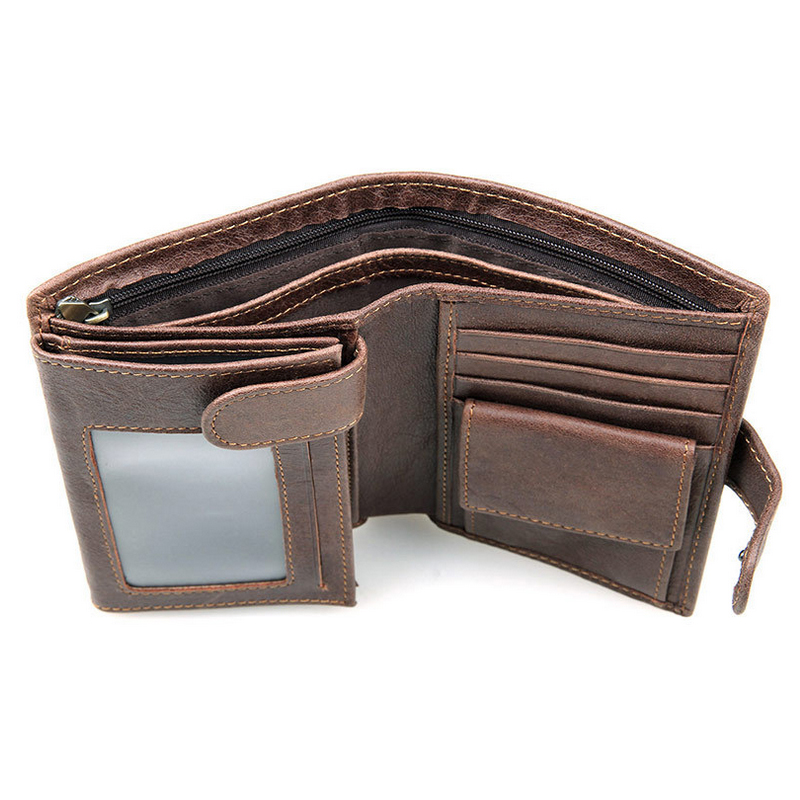 New First Layer Of Real Leather Mens Large Capacity Multi-Card Bit Short Wallet Retro Clutch Men Genuine Leather Purses