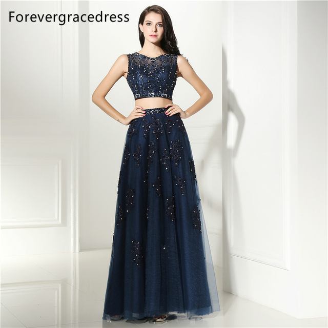 Forevergracedress Sexy Navy Blue Prom Dress Two Pieces Sheer Illusion Neck  Applique Long Formal Party Gown 58aaf6151f27