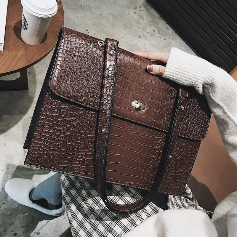 European Fashion Female Big Tote bag 2018 New Quality PU Leather Womens Large Handbag Crocodile pattern Shoulder Messenger BagsEuropean Fashion Female Big Tote bag 2018 New Quality PU Leather Womens Large Handbag Crocodile pattern Shoulder Messenger Bags