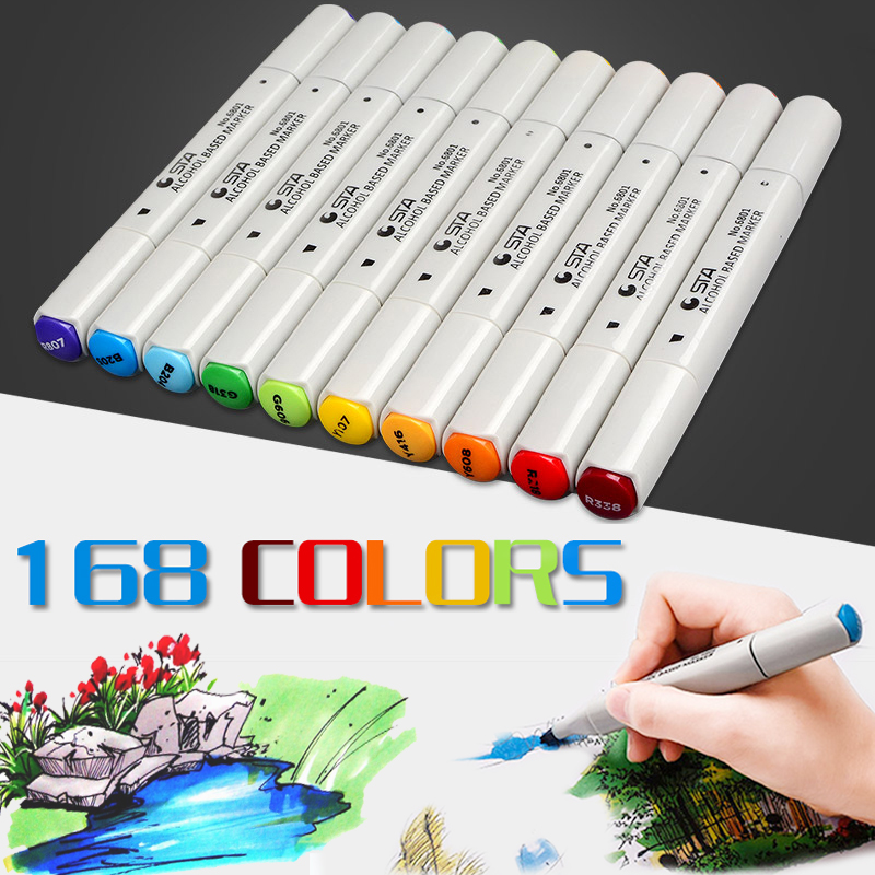 168 Colors STA Double Headed Sketch Marker Pen Professional Art Marker Pens Stationery Drawing Art Supplies touchnew 60 colors artist dual head sketch markers for manga marker school drawing marker pen design supplies 5type