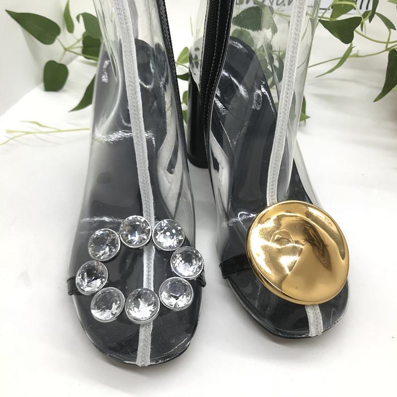 Transparent Marque En Chaussures Métal Funky Bottes Talons Glissière As Latérale Mi Pvc mollet Décor Femme Hommes Cristal Court Pic Chaussons CqtWTrq