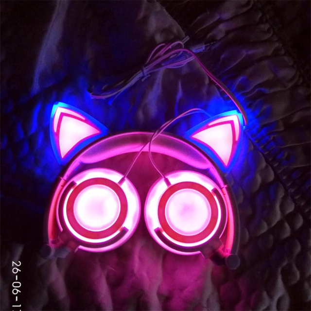 with LED light For PC Laptop Computer Mobile Phone Foldable Flashing Glowing cat ear headphones Gaming Headset Earphone