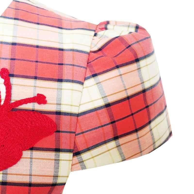 Sunny Fashion Kız Çocuk Elbise Kelebek İşlemeli Kırmızı Kontrol Okul üniforması