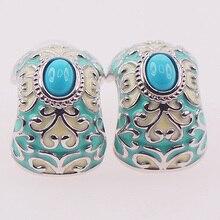 Esmalte de color turquesa 925 Pendientes Cristalinos de Plata TE406