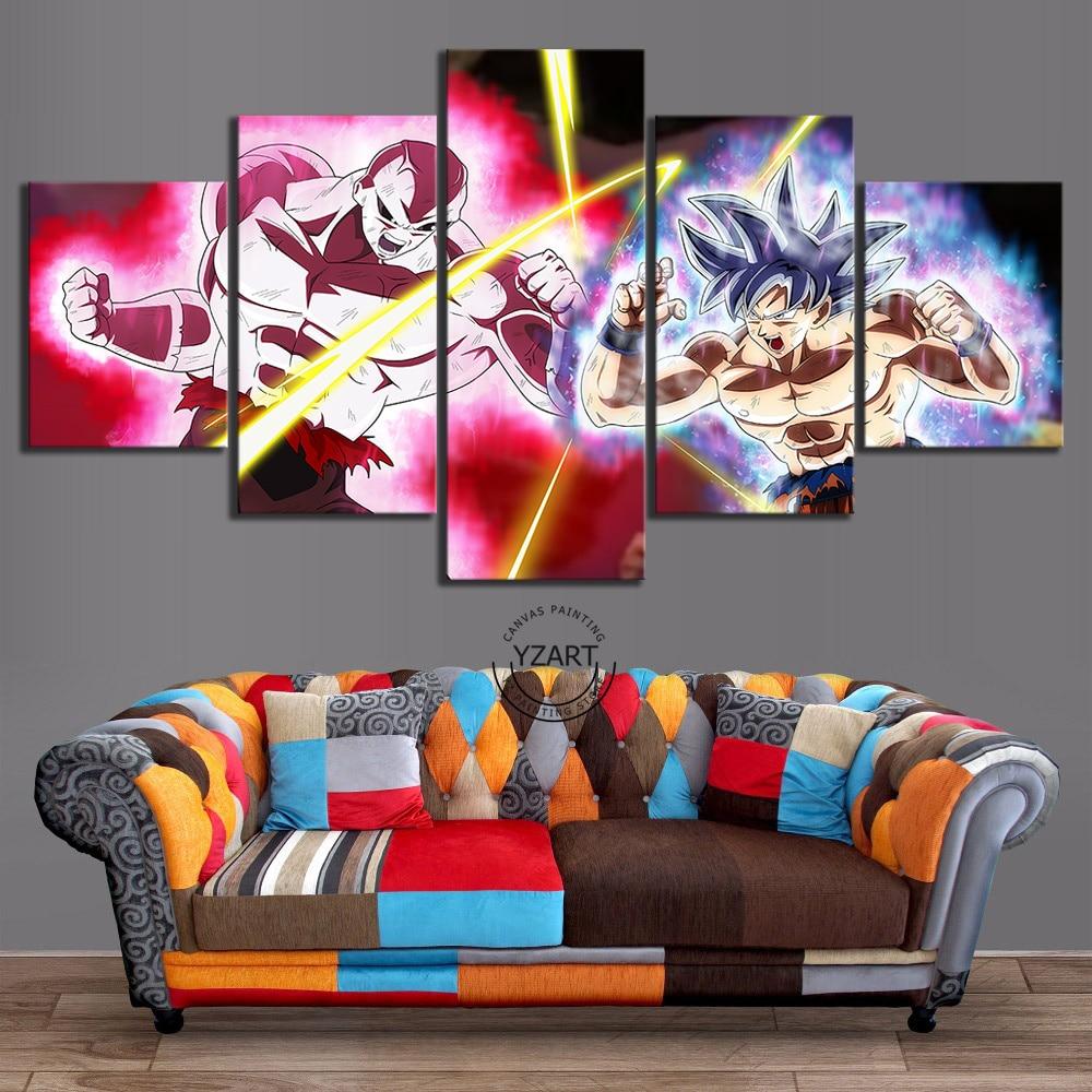5 Piece Jiren Vs Ultra Instinct Goku Dragon Ball Super Anime Poster Canvas Art Wall Paintings for Living Room Decor 1