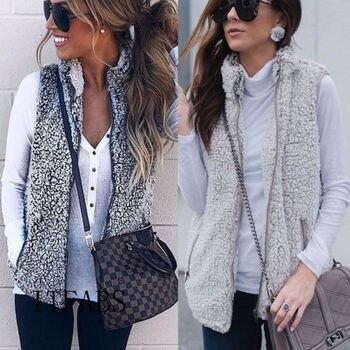 New Women Winter Warm Vest Outwear Casual Faux Fur Zip Up Sherpa Loose Jacket Sleeveless Coat Fashion Streetwear