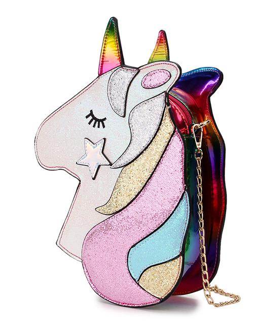 Sequined Unicorn Design Mini Crossbody Bag