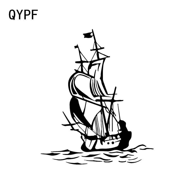 QYPF 13.5*16.2CM Interesting Pirate Ship Ocean Sailor Decor Car Styling Sticker Vinyl Silhouette Black/Silver C16-1104