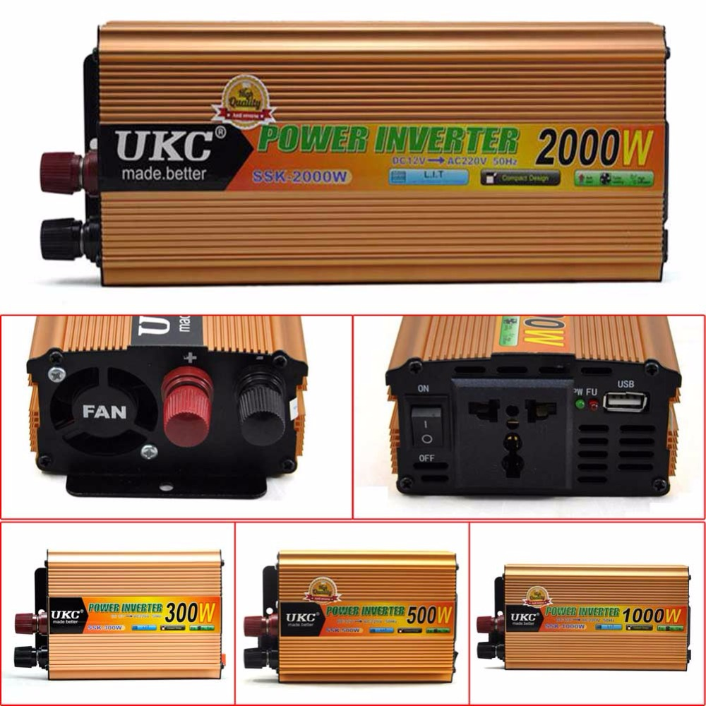 New Arrival 12V Boost to 220V 300W 500W 1000W 2000W Modified Sine Wave Power Inverter aluminum alloy  цены