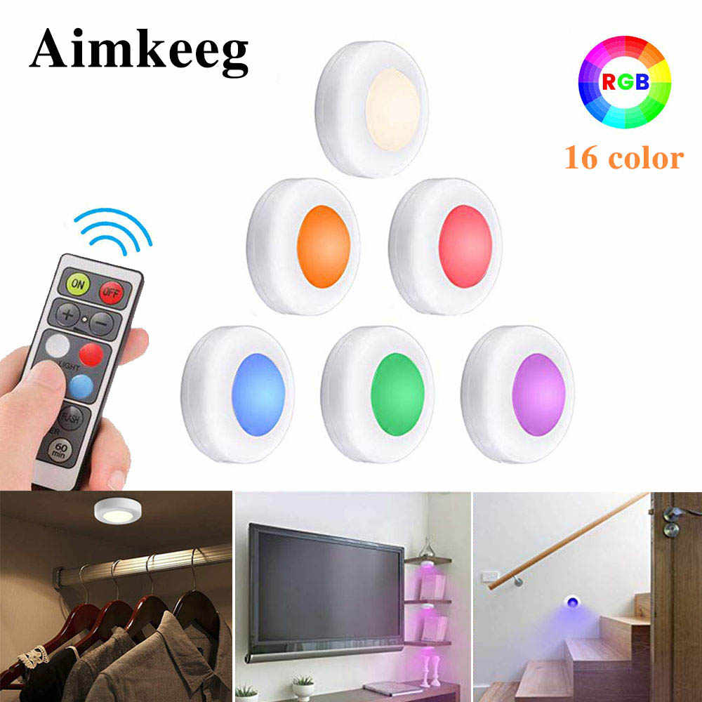 Wireless Wall Cabinet Light Dimmable Touch Sensor LED Closet Light  LED Puck Lights for Home Kitchen Bedroom Lamp RGB 16 Colors